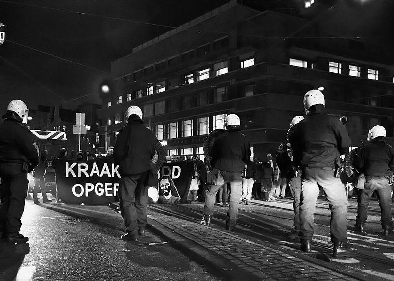 Demonstratie in december 2009 tegen het kraakverbod